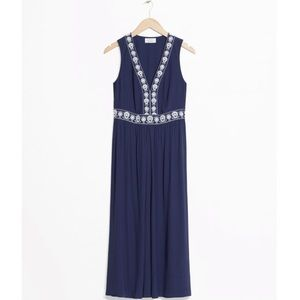 & Other Stories Blue Embroidered Dress - Size 8